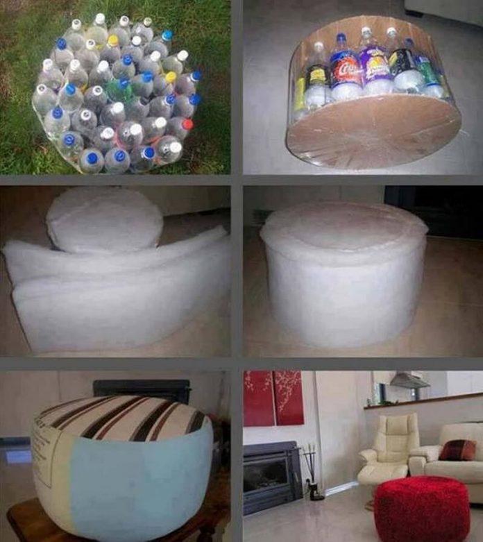 Сделать пуфик фото из пластиковых бутылок